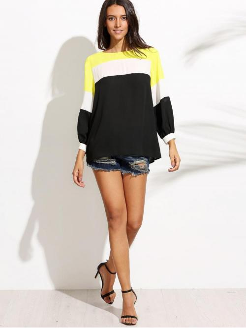 Ladies Long Sleeve Top Button Satin Cut and Sew Blouse
