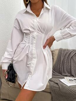 Long Sleeve Tunic Button Front Polyester Corset Waist Blouse Without Belt Pretty