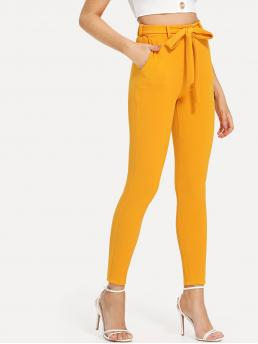 Cheap Yellow Natural Waist Belted Plain Self Tie Solid Pants