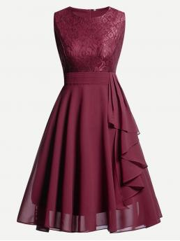 Burgundy Plain Contrast Lace Round Neck Top Ruffle Flare Dress Clearance