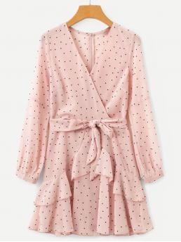 Trending now Baby Pink Polka Dot Belted V Neck Self Tie Surplice Dress