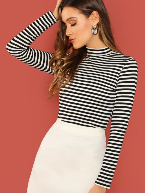 Elegant Striped Slim Fit Stand Collar Long Sleeve Pullovers Black and White Regular Length Mock Neck Striped Rib Knit T-shirt