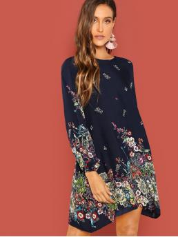 Casual Tunic Floral Straight Loose Round Neck Long Sleeve Raglan Sleeve Natural Navy Short Length Button Keyhole Back Floral Dress