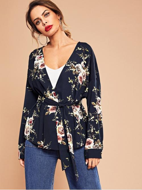 Discount Long Sleeve Top Belted Polyester Flower Print Top