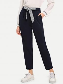 Casual Striped Tapered/Carrot Regular High Waist Navy Cropped Length Striped Tie Waist Cigarette Pants