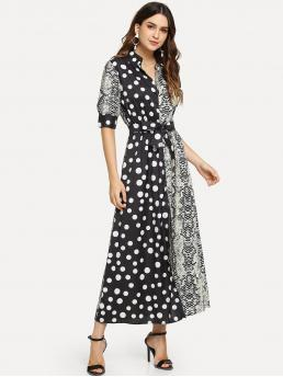 Womens Multicolor Snakeskin Print Belted Collar Polka Dot and Snake Print Dress