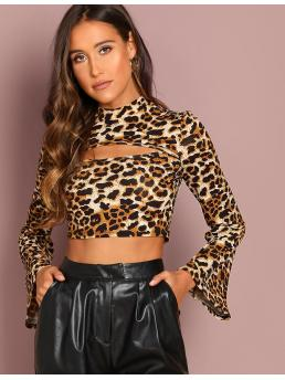 Sexy Leopard Slim Fit Stand Collar Long Sleeve Flounce Sleeve Pullovers Multicolor Crop Length Bell Sleeve Cut Front Crop Top