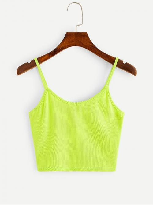 Casual Cami Plain Slim Fit Spaghetti Strap Green and Bright Crop Length Slim Fitted Cami Top