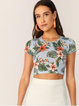Casual Tropical Slim Fit Round Neck Cap Sleeve Pullovers Multicolor Crop Length Tropical Print Crop Tee