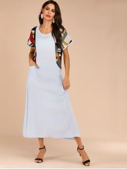 Modest Tee Colorblock Straight Loose Round Neck Short Sleeve Natural Blue Long Length Contrast Panel Dual Pocket Longline Dress