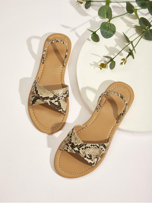 Comfort Open Toe Snakeskin Print Slingbacks Multicolor Snakeskin Pattern Criss Cross Flat Sandals
