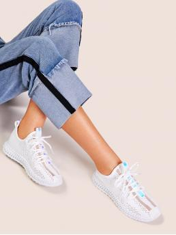 Comfort Round Toe White Breathable Lace-up Front Sneakers