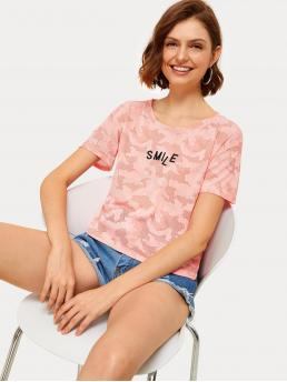 Casual Camo Regular Fit Round Neck Short Sleeve Pullovers Pink Regular Length Camo Print Letter Embroidery Tee