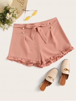 Casual Plain Regular Mid Waist Pink Pearls Belted Frill Wide Leg Shorts with Belt