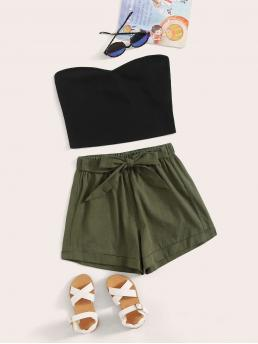Casual Colorblock Strapless Sleeveless Multicolor Girls Tube Top & Tie Front Shorts Set with Belt