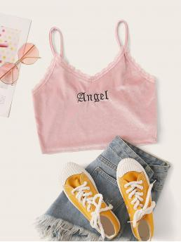 Casual Cami Letter Slim Fit Spaghetti Strap Pink Crop Length Velvet Lace Panel Letter Embroidery Cami Top