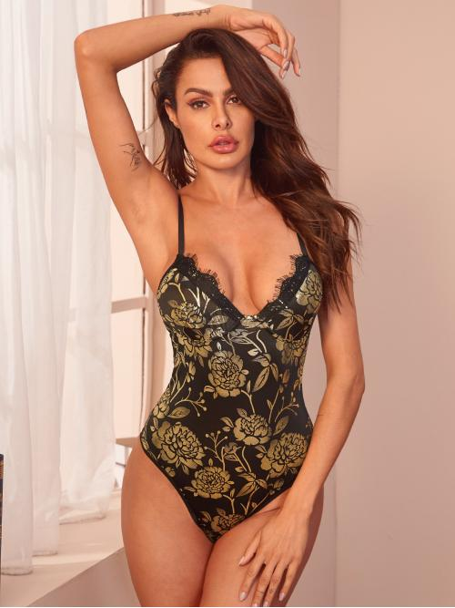 Sexy Cami Floral Skinny Spaghetti Strap Sleeveless Mid Waist Multicolor Floral Print Backless Cami Bodysuit
