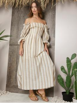 Women's Multicolor Striped Zipper off the Shoulder Bell Sleeve Dress