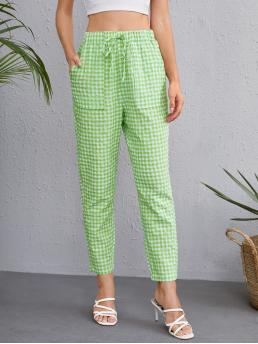 Mint Green High Waist Pocket Gingham Patched Pants Beautiful