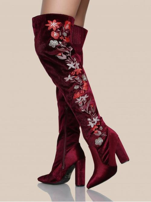 Trending now Polyester Red Stretch Boots Embroidery Floral Thigh High Boots Garnet
