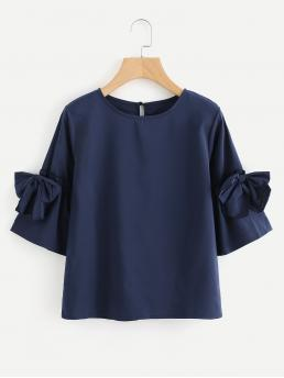 Casual Plain Top Regular Fit Round Neck Three Quarter Length Sleeve Navy Bow Tie Sleeve Keyhole Back Blouse