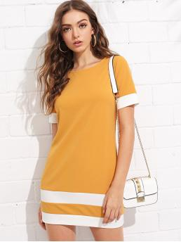 Casual Tee Striped Straight Loose Round Neck Short Sleeve Natural Yellow Short Length Color Block Stripe Shift Dress