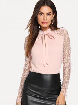 Elegant Plain Top Slim Fit Stand Collar Long Sleeve Raglan Sleeve Pink Regular Length Tie Neck Lace Sleeve Top