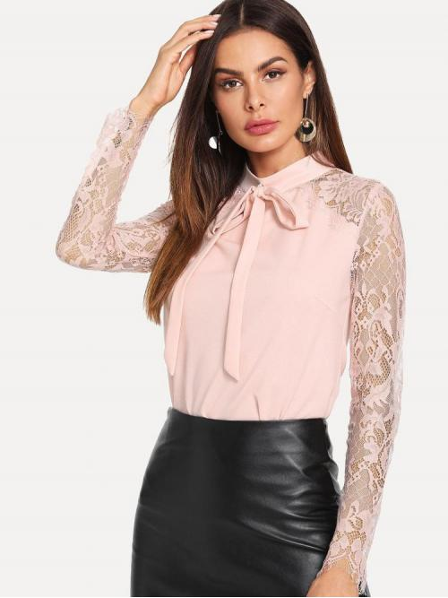 Discount Long Sleeve Top Contrast Lace Mesh Lace Sleeve Top