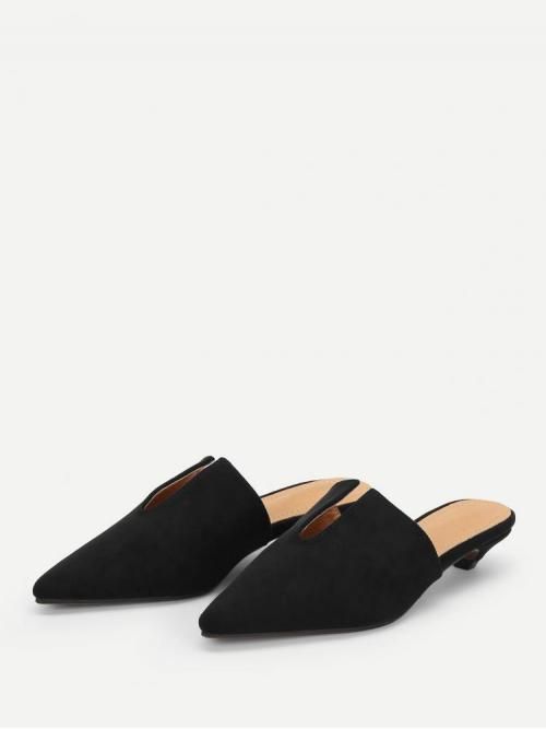 Shopping Polyester Black Mules Ruffle V Cut Design Pointed Toe Flat