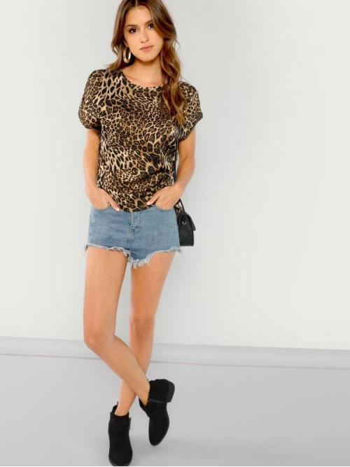 Short Sleeve Leopard Multicolor Round Neck Rolled Sleeve Tee Discount