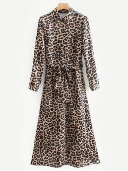 Casual Shirt Leopard Straight Loose Collar Long Sleeve Regular Sleeve Natural Long Length Leopard Print Self Tie Shirt Dress