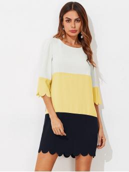 Trending now Multicolor Colorblock Scallop Round Neck Cut and Sewed Dress