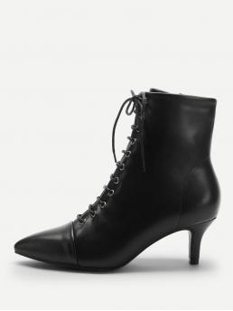 Business Casual Point Toe Plain Ankle Side zipper Black Mid Heel Solid Lace-up Boots