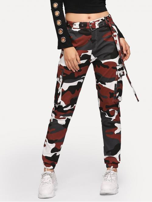 Casual Camo Cargo Pants Regular Button Fly Mid Waist Multicolor Cropped Length Camo Print Metal Grommet Belted Cargo Pants with Belt