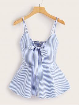 Cute Cami Striped Flared Regular Fit Spaghetti Strap Blue Regular Length Striped Tie Front Shirred Back Cami Top