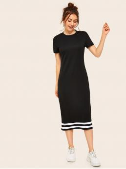 Sporty Tee Striped Straight Regular Fit Round Neck Short Sleeve Regular Sleeve Natural Black Long Length Contrast Striped T-shirt Midi Dress