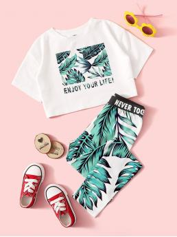 Casual Tropical and Slogan Skinny Leggings Regular Fit Round Neck Short Sleeve Multicolor Girls Mixed Print Tee and Leggings Set