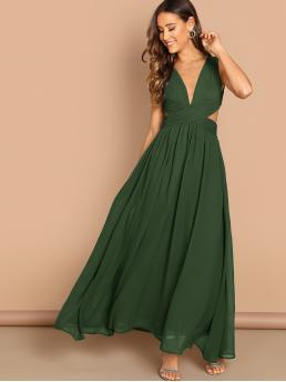 Glamorous and Sexy A Line Plain Flared Regular Fit Deep V Neck Sleeveless High Waist Army Green Maxi Length Cross Wrap Front Cut-out Back Pleated Detail Dress