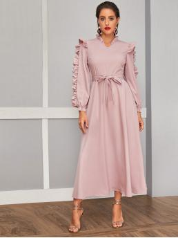 Elegant A Line Plain Flared Regular Fit Stand Collar Long Sleeve Bishop Sleeve High Waist Pink and Pastel Long Length Ruffle Trim Self Belted Dress with Belt