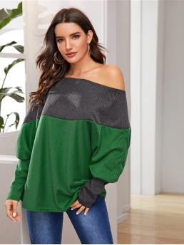 Casual Colorblock Regular Fit Round Neck Long Sleeve Bishop Sleeve Pullovers Multicolor Regular Length Contrast Panel Batwing Sleeve Tee