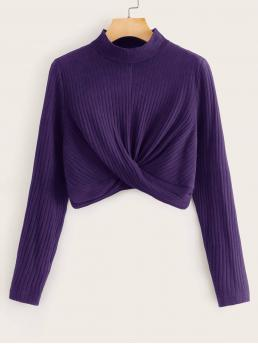 Casual Plain Slim Fit Stand Collar Long Sleeve Regular Sleeve Pullovers Purple Crop Length Mock-Neck Twist Front Rib-knit Top