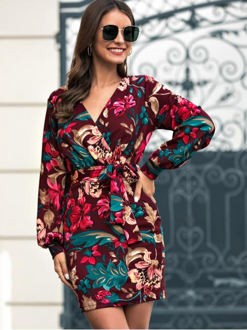 Casual Fitted Floral Regular Fit V neck Long Sleeve Regular Sleeve Multicolor Short Length Floral Print Self Tie Fitted Dress with Belt