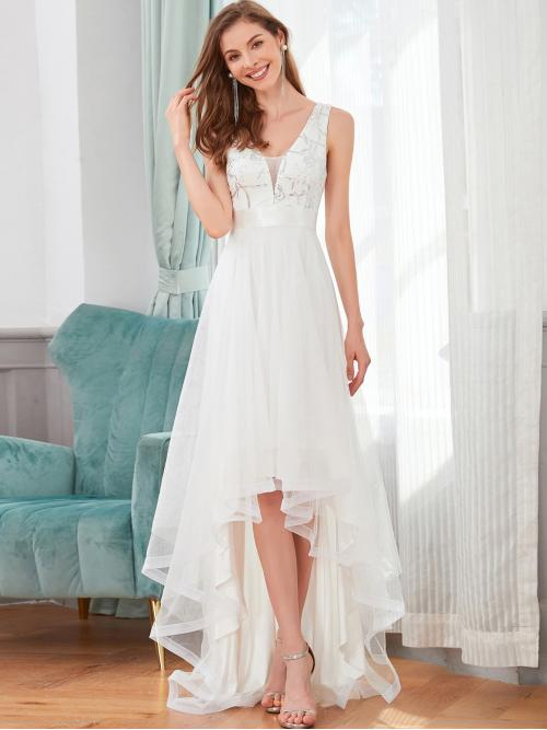 Beautiful White Plain Zipper V Neck Sequin Embroidered Floral Prom Dress