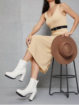 White Ultra High Heel Chunky Round Toe Faux Leather High Block Heel Zip-up Booties Trending now