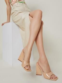 Trending now Apricot Mules High Heel Chunky Patent Pleather Slip-on Square Toe Block Heels