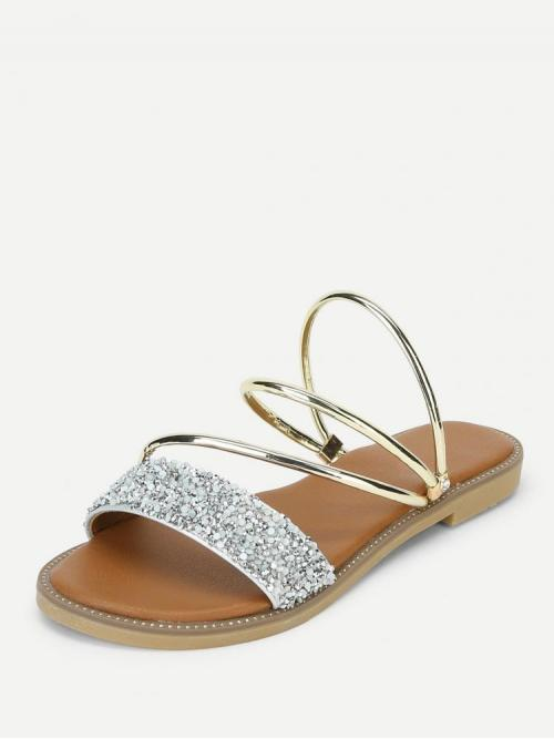 Beautiful Corduroy Silver Thong Sandals Embroidery Metallic Convertible Sandals