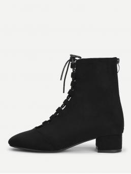 Business Casual Almond Toe Ankle Back zipper Black Low Heel Chunky Lace Up Ankle Boots