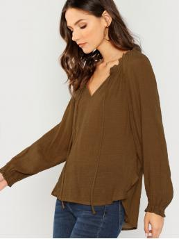 Casual Plain Top Regular Fit V neck Long Sleeve Pullovers Brown V-Neck Long Sleeve Peasant Blouse