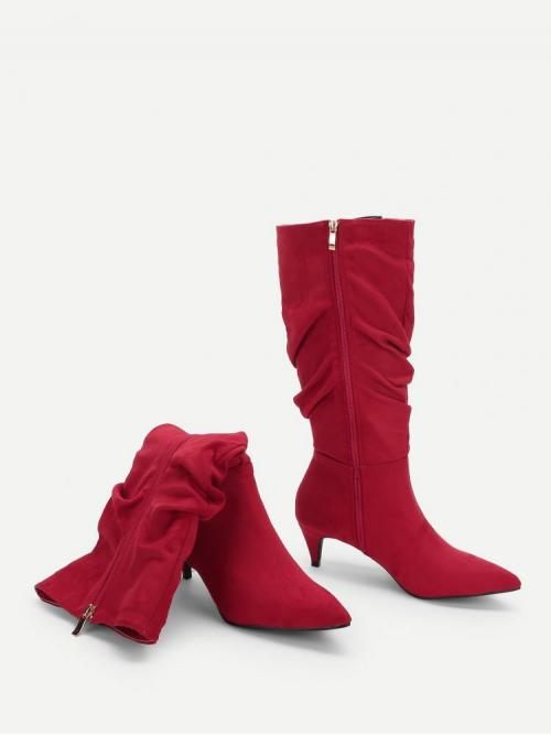 Rayon Red Poncho Fringe Pointed Toe Ruched Boots Fashion