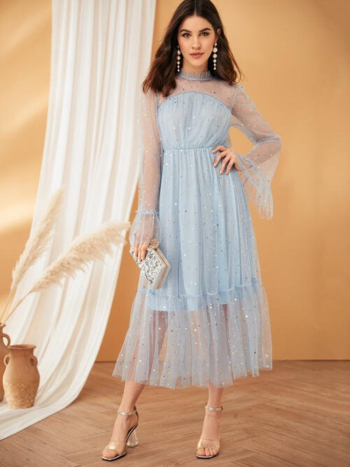 Baby Blue Galaxy Frill Stand Collar Frilled Neck Bell Sleeve Star Mesh Overlay Dress Beautiful